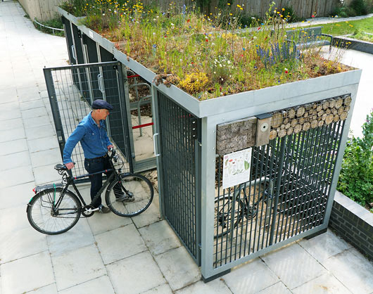 Hard Covered Bike Shelters : Green roofed cycle shelters from roof