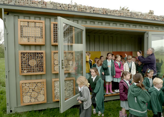 Green roofed outdoor classrooms - Vissershok primary school shipping container classroom ...